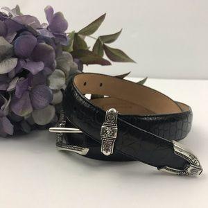 Talbots XS Belt Black Leather Silver-tone Buckle